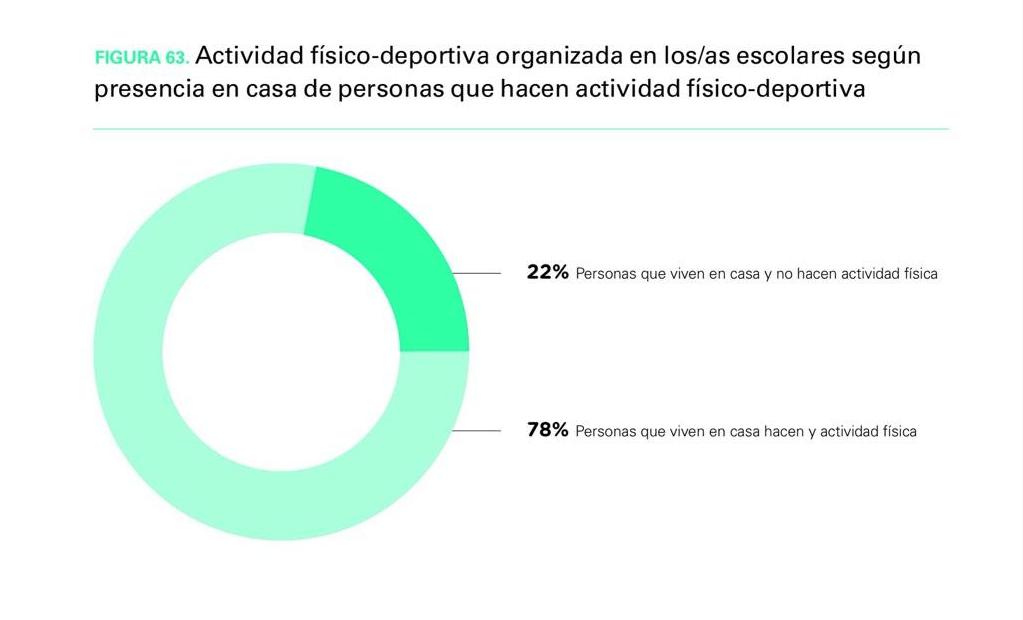 Gráfico sobre actividad físico deportiva en familias no sedentarias