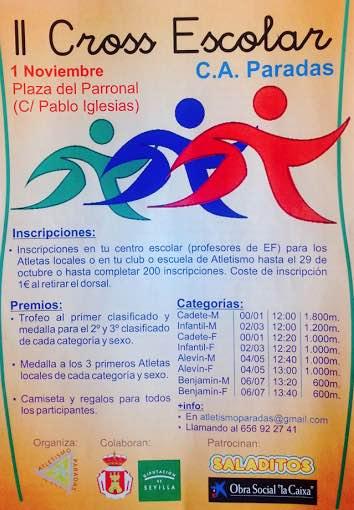 cartel atletismo II cross escolar en Paradas