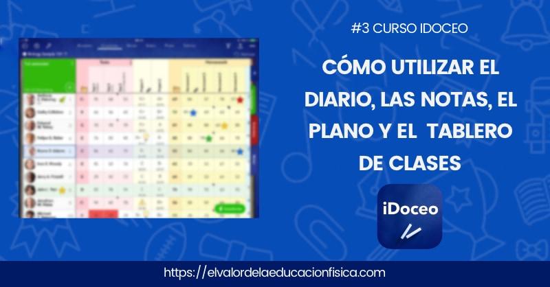 Cuaderno de iDoceo donde aparece un letrero que dice cómo utilizar el diario, las notas, le plano y el tablero de clase